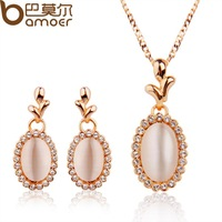 Luxury Wedding Opal Jewelry Sets For Women Rose Gold Plated Austrian Crystal Necklace + Earrings Bamoer Jewellery