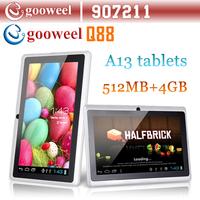 "Gooweel 7"" Allwinner A13 Q88 tablet pc android 4.1 1.2GHz RAM DDR3 512MB ROM 4GB Camera WiFi OTG"