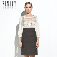 New arrival women's 2014 spring and summer high waist long-sleeve dress patchwork