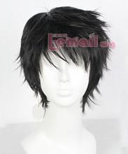 Free Shipping 25cm New Fashion Synthetic Hair Male Men Short Black Wig(China (Mainland))