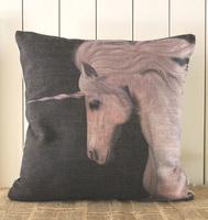 H444 2014New Black&White Romantic Unicorn Linen Decoratie Cushion Cover Sofa Pillow Pad Throw Pillow Case Cover Home Decor