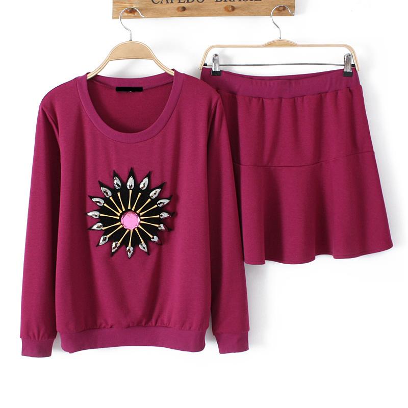 spring new 2014 arrival plus size women's fashion diamond t-shirt pleated skirt set t shirt Brand tshirts(China (Mainland))