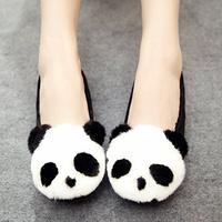 Artificial wool cartoon panda head cotton plus velvet suit shoes flat round toe comfortable single shoes boat shoes women's
