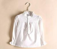 2014(2-9age) top selling Spring Girls Blouses & shirts Fashion Fantasy kids cotton Lace long Sleeve shirt mandarin collar