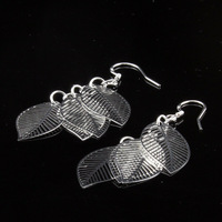 2014 hollow leaves Silver-plated 925 sterling silver earrings jewelry silver jewelry Freeshipping 802005