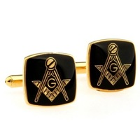 Black Masonic Cufflinks with Gold Setting AT0794