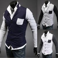 trade new men's sweater Korean Slim sportsman spell color cardigan sweater cardigan sweater