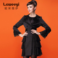 Lcweeyi 2014 spring fashion turn-down collar long-sleeve lace elegant trench outerwear female  Free Shipping