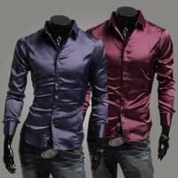 Influx of foreign trade goods silk glossy men's casual long-sleeved shirt Slim Autumn long-sleeved shirt turtleneck shirt