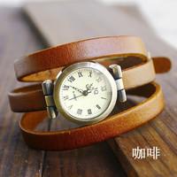 Holiday sale christmas gift Vintage Genuine Cow leather wrist watch women dress fashion quartz watch N3D87