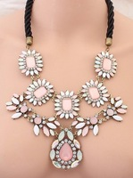 2014 Fashion Brand Pink cCrystal Flower Chain Necklace Resin Necklace Exaggerate Luxury Chunky Statement Jewelery