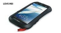 Original Love Mei Waterproof Waist Metal Case For Galaxy Note 2 N7100 + Gorilla Glass,MOQ:1pcs + Free Shipping