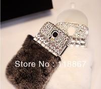 10pcs Luxury Fashion diamond soft rabbit fur case for Samsung S4 i9500 S3 i9300 Note 2 Note 3
