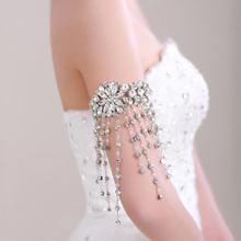 Bride armlessly chain marriage  white rhinestone arm chain long tassel design of luxury rose bracelet