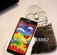5pcs 2014 Luxury Fashion diamond soft rabbit fur case for Samsung S4 i9500 S3 i9300 Note 2 Note 3