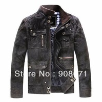 Free shipping ! Men's brand fashion High quality pigskin genuine leather Motorcycle Locomotive leather Jacket Coat / L-XXL