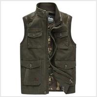 2014 spring new popular vest men casual waistcoat men's clothing cotton 3colors denim vest men fishing vest M-XXXL free shipping