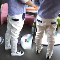 (5 pieces/lot)wholesale 2014 new Ann children's baby clothing casual pants male child white suit pants roll-up hem w505 0.75kg