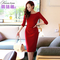 2014new Autumn and winter long-sleeve dress ladies sexy racerback placketing red formal dress full dress 2014 spring