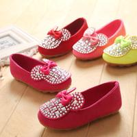 26-36 size children girls Korean sweet diamond bow shoes tendon soles girl kids fashion single shoes 4 colors