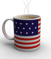 Free shipping Creative the Old Glory US Flag Color Changing Cup Ceramic Tea Mug Cup Senstive Hot Cold Heat Office Coffee Cup