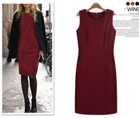 2014 Lady's Woolen Vest Dress Slim Hot Sale Fashion Thicken Winter Spring Dress Women's European Style Dress 492
