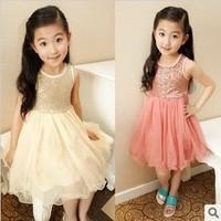 Pleasant baby female child summer child 2014 paillette one-piece dress princess dress a8089 0.95