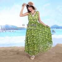 Spring dress bohemia skirt vest chiffon one-piece dress beach dress full racerback