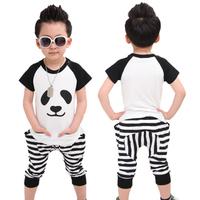 Children's clothing 2014 summer male child set child twinset short-sleeve T-shirt stripe harem pants