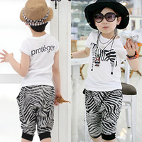 Male summer child clothing 2014 baby summer short-sleeve casual cool sports set clothes