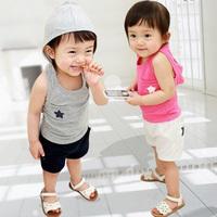 2014 summer girls summer clothing baby boy child clothes summer vest shorts set