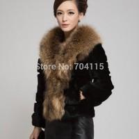 Raccoon Fur Collar Rabbit Fur Coat