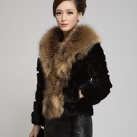 Raccoon Fur Collar Rabbit Fur Coat