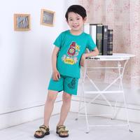 2014 cartoon short-sleeve set 100% cotton child set
