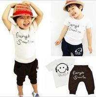 2014 children's clothing short-sleeve capris set male children's child clothing