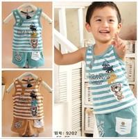 Collcction children's clothing child set horizontal stripe wide shoulder set boy twinset