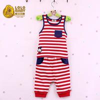 Baby children's clothing summer 2014 male female child set summer stripe 100% child cotton twinset