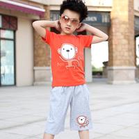 Baby children's clothing male child set 2014 child casual summer cotton short-sleeve 100% set