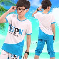 Male children's clothing 2014 male child summer child casual sportswear child summer cotton set