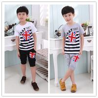 2014 children's summer clothing stripe flag set child male child summer 100% cotton jersey fashion
