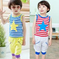 Male short-sleeve child clothing set 2014 baby boy summer set n