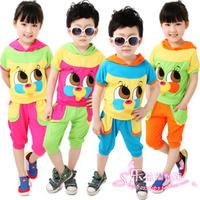 2014 short-sleeve baby summer children's clothing child sports set male female child set
