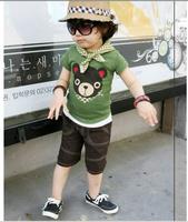 Summer children's clothing popular 2014 children's clothing bear male child summer casual set
