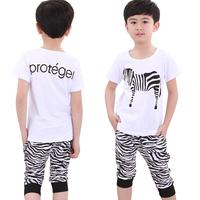 2014 male child girls clothing baby short-sleeve T-shirt capris set