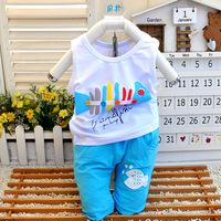 2014 summer child set baby clothes male female child sportswear child vest shorts small children's clothing summer