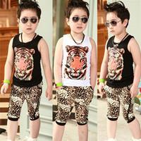 Children's clothing male child vest set summer 2014 big boy baby sports summer 6503