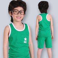 2014 summer thin sports child male child big boy sleeveless summer vest short-sleeve children's clothing set