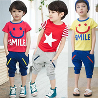 2014 children's clothing child baby short-sleeve set male child boy summer fashion cool pants
