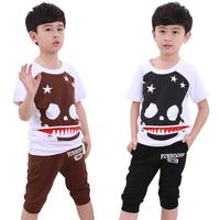 Children's clothing 2014 personality male child set child short-sleeve set summer child set