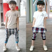Children's clothing child 2014 male child summer baby 100% cotton harem pants sports set